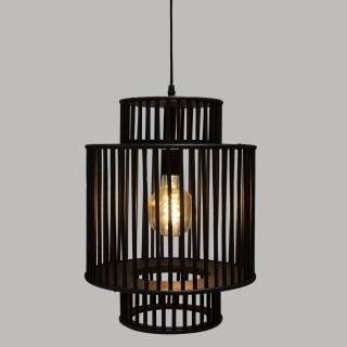 Suspension luminaire en bambou Slow - Diam. 32 cm - Noir