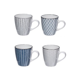 4 Mugs design Japon - 300 ml - Blanc