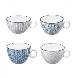 4 Tasses design Japon - 380 ml - Blanc
