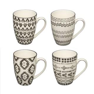 4 Mugs ethnique Tahila - 340 ml - Blanc