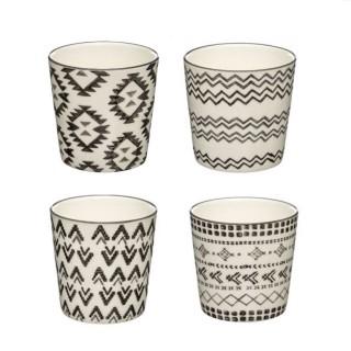 4 Mugs coniques ethnique Tahila - 190 ml - Blanc