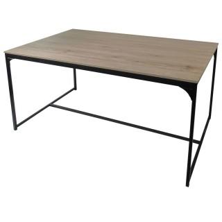Table à manger design industriel Dock - L. 150 x H. 75 cm - Noir
