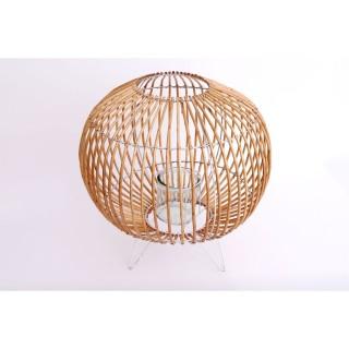 Bougeoir boule en rotin Alix - Diam. 41 x H. 43 cm - Blanc