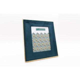 Cadre photo design velours Art Déco Paon - L. 13 x l. 18 cm - Vert émeraude