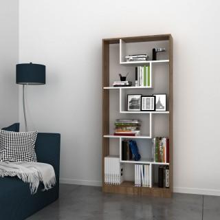 Etagère bibliothèque bois scandinave Riga - L. 80 x H. 180 cm - Marron noix