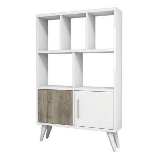 Etagère bibliothèque scandinave bois Ducky - L. 90 x H. 105 cm - Blanc