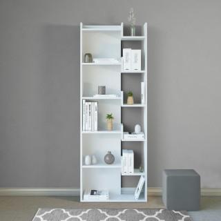 Etagère bibliothèque design bois Brooke - L. 60 x H. 162 cm - Blanc