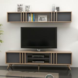 Meuble TV design avec étagère Bren - L. 180 x H. 48 cm - Gris anthracite