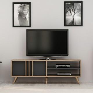 Meuble TV design bois Bren - L. 150 x H. 48 cm - Gris anthracite