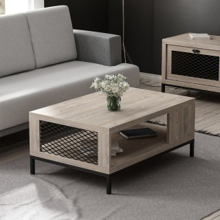Table basse industrielle Zeus - L. 90 x H. 39 cm - Noir