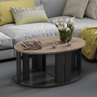 Table basse modulable design Antella - L. 90 x H. 41 cm - Noir
