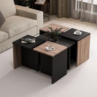 Table basse design Owen - L. 80 x l. 74 cm - Noir