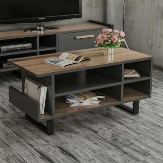 Table basse design bois Leno - L. 92 x H. 43 cm - Noir