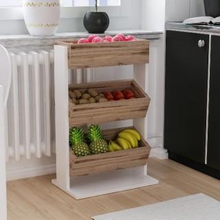 Etagère de cuisine scandinave bois Dera - L. 49 x H. 70 cm - Blanc