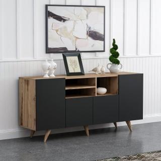Buffet design effet bois Sansa - L. 160 x H. 75 cm - Noir