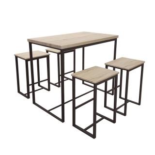 Table haute avec tabourets industrielle Dock - Noir