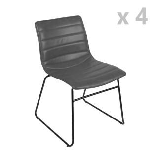 Lot de 4 Chaises design industriel Brooklyn - Gris