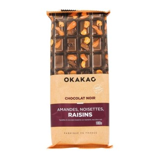 Chocolat Noir Amandes, Noisettes, Raisins - Okakao - tablette 180g