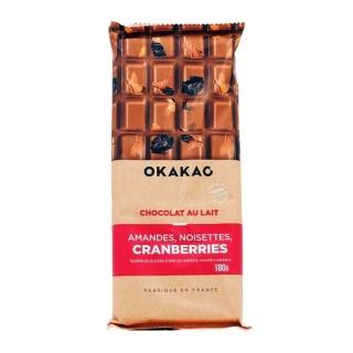 Chocolat Lait Amandes, Noisettes, Cranberries  - Okakao - tablette 180g