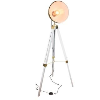 Lampadaire trepied design industriel Ino - H. 150 cm - Blanc