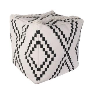 Pouf ethnique design berbère Mirage - Blanc