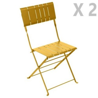 2 Chaises de jardin pliables design Nasca - Jaune moutarde