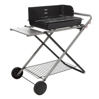 Barbecue à charbon pliable avec tablette et roues Azur - 8 Personnes - Noir