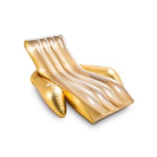 Fauteuil chaise longue pour piscine Glitter - L. 175 x H. 61 cm - Doré