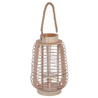 Lanterne en rotin ethnique Azia - H. 33 cm - Beige