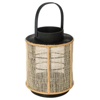 Lanterne en bois ethnique Wax - H. 22 cm - Noir