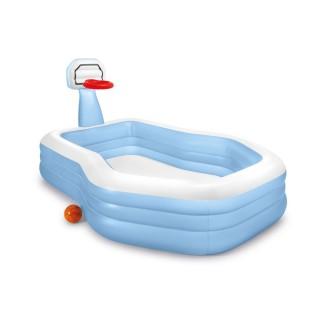 Piscinette gonflable avec panier Basket - L. 257 x H. 130 cm - Bleu
