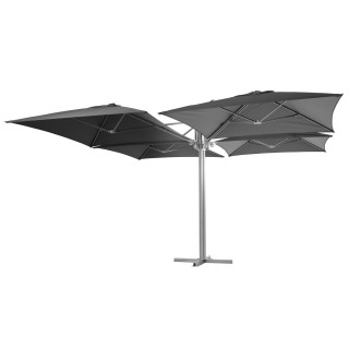 Parasol carré design 4 Toiles Setiri - L. 415 x l. 415 cm - Gris ardoise