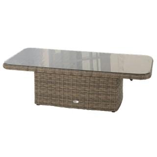 Table relevable de jardin en résine tressée Moorea - L. 150 x H. 45 cm - Marron naturae