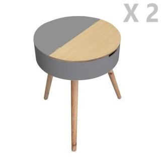 2 Tables de nuit coffre Scandinave - Diam. 45 cm - Gris