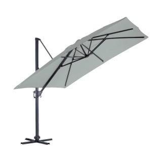 Parasol déporté inclinable carré Almeria - L. 300 x l. 300 cm - Gris perle
