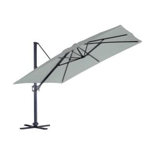 Grand parasol déporté inclinable rectangulaire Almeria - L. 400 x l. 300 cm - Gris perle