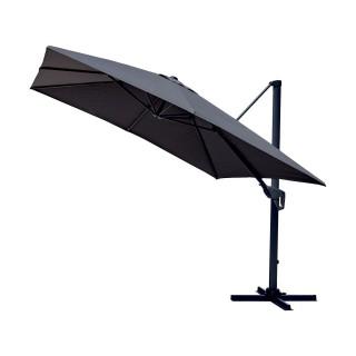 Parasol déporté inclinable carré Cadix - L. 300 x l. 300 cm - Gris anthracite