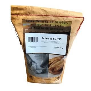 Farine T55 de blé 100% français - Minoterie du Trièves - sac 5Kg