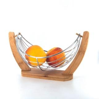 Corbeille à fruits design bambou et inox Cook