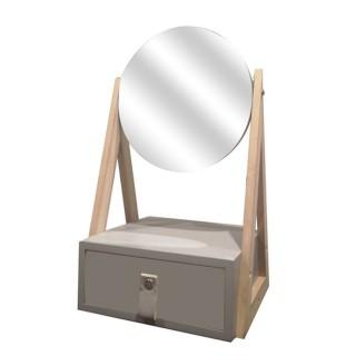 Boîte à bijoux avec miroir pivotant Lina - Gris