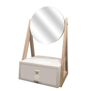 Boîte à bijoux avec miroir pivotant Lina - Blanc