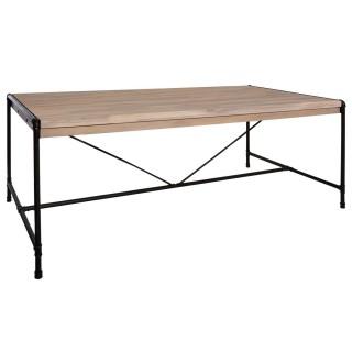 Table à manger design bois et métal industriel Siam - L. 200 x H. 77 cm - Noir