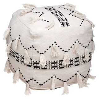Pouf en tissu design ethnique Terre - L. 45 x H. 45 - Blanc
