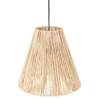 Suspension luminaire cône effet corde Ethnik - H. 95 cm - Beige