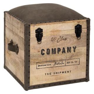 Pouf de rangement rétro en bois Company - L. 45 x H. 49 cm - Marron