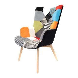 Fauteuil de salon design scandinave Helsinki - Noir patchwork