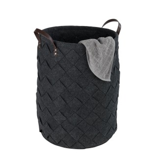 Panier à linge design feutrine tressée Trovo - Diam. 40 x H. 60 cm - Gris anthracite