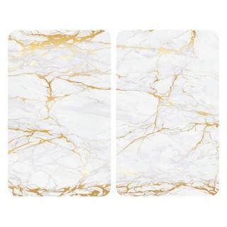 2 Couvre-plaques universel design Marbre - 30 x 52 cm - Blanc