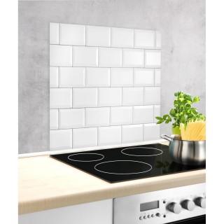 Fond hotte design mur de briques Metro - L. 60 x l. 70 cm - Blanc