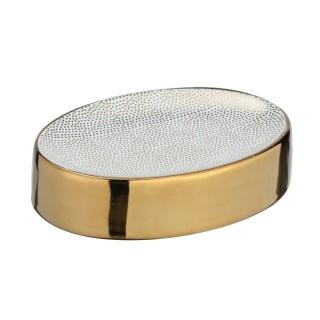 Porte savon design Nuria - Blanc et doré